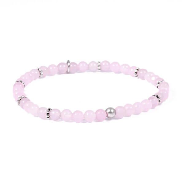 Damen Armband mit Rosenquarz und Silberblüten