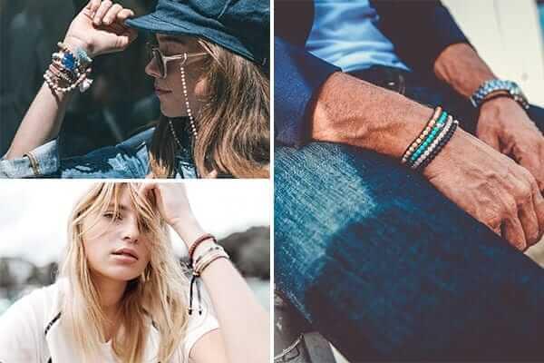 Armbänder getragen Collage