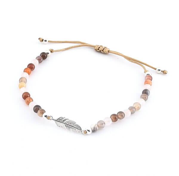 Damen Armband mit Edelsteinen und Silberfeder