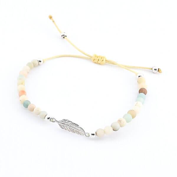 Damen Armband mit Amazonit Steinen und Feder aus Silber