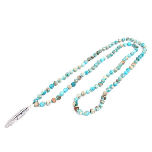 Herren Halskette geknüpft mit 925 Sterling Silber Federanhänger