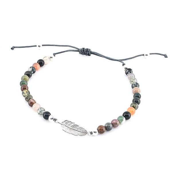 Damen Armband mit Moosachat Steinen und Feder in Silber