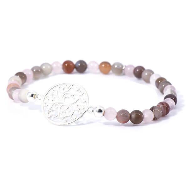 Damen Stretch Armband mit Achat & Rosenquarz Steinen und einem liebevoll gefertigten 925 Sterling Silber Emblem.
