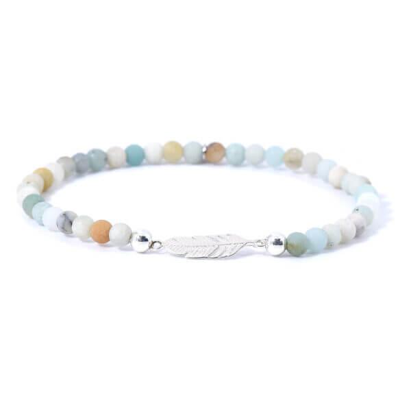 Damen Stretch Armband mit matten Amazonit Steinen. Die liebevoll gefertigte Feder aus 925 Sterling Silber verleiht diesem Armband seinen Ausdruck