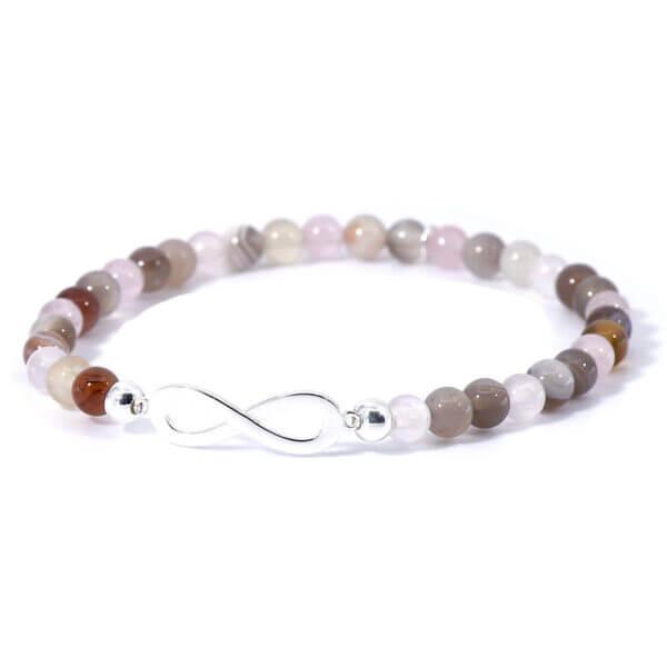 Damen Stretch Armband mit Achat & Rosenquarz Steinen und einem aus 925 Sterling Silber gefertigtem Infinity Symbol