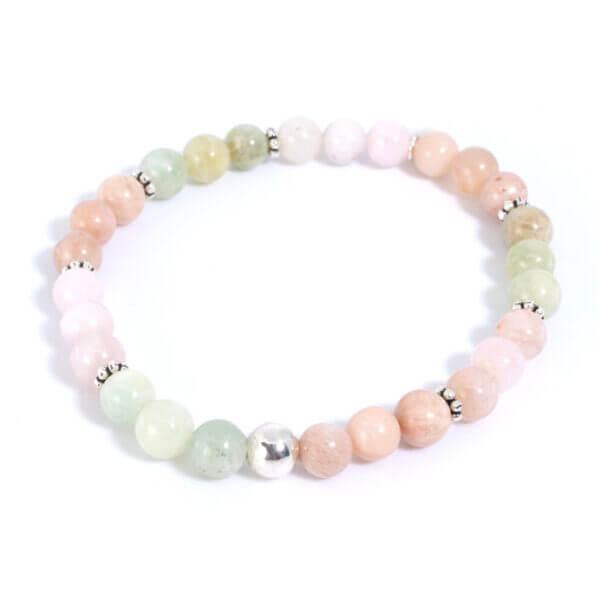 Damen Armband mit Morganit, Mondsteinen und Rosenquarz Steinen handverlesen zusammen gestellt und 925 Sterling Silber. Schöne Steine die zusammen harmonieren.
