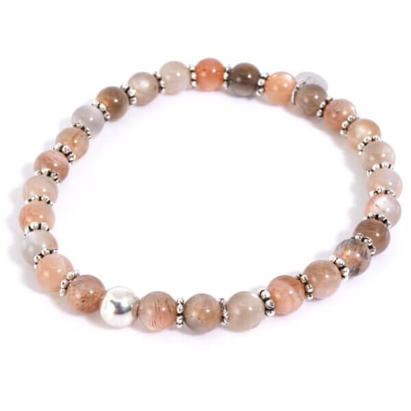 Damen Armband mit Mondsteinen und 925 Sterling Silberblüten. Ein Armband das Sonne & Mond vereint.