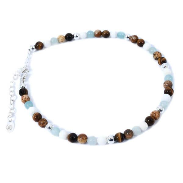 Damen Fusskette mit Achat, Chalcedon, Tigeraugen, Jaspis Steinen und 925 Sterling Silberperlen. Mit Verlängerungskette, passend für jedes Fussgelenk.