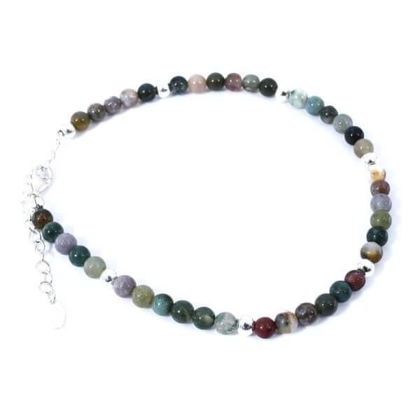 Damen Fusskette mit Achat & Moosachat Steinen und 925 Sterling Silberperlen. Mit Verlängerungskette, passend für jedes Fussgelenk.