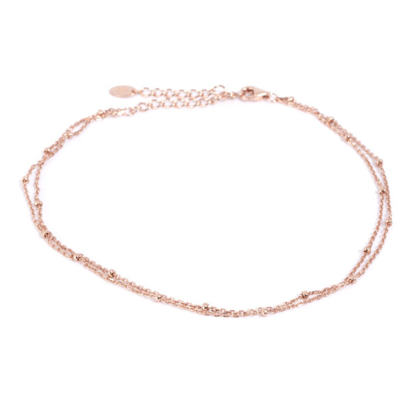 Damen Fusskette in 925 Sterling Silber rosé vergoldet mit Verlängerungskette passend für jedes Fussgelenk.