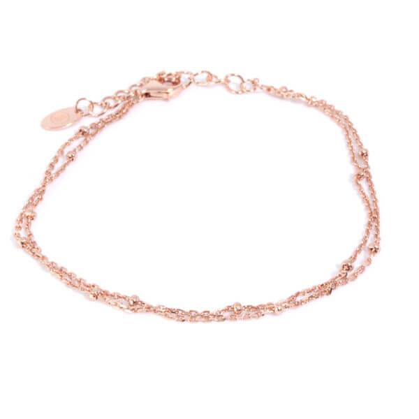 Armband mit Karabinerverschluss in 925 Sterling Silber rosé vergoldet. Mit Verlängerungskette passend für jedes Handgelenk.
