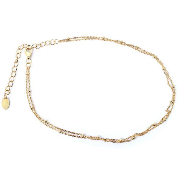 Damen Fusskette in 925 Sterling Silber 18k vergoldet mit Verlängerungskette passend für jedes Fussgelenk.